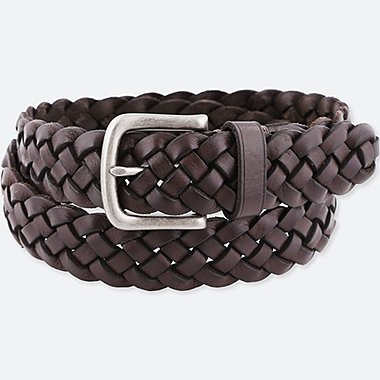 MEN LEATHER WIDE MESH BELT