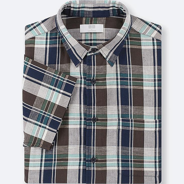 MEN LINEN COTTON CHECKED SHORT-SLEEVE SHIRT, DARK BROWN, large