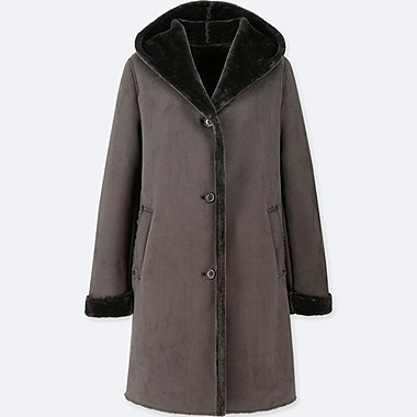 WOMEN SOFT HOODED COAT