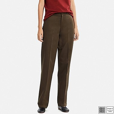 WOMEN UNIQLO U Cotton Straight Trousers