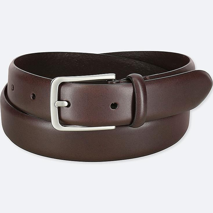 MEN ITALIAN LEATHER NO STITCHED BELT, DARK BROWN, large