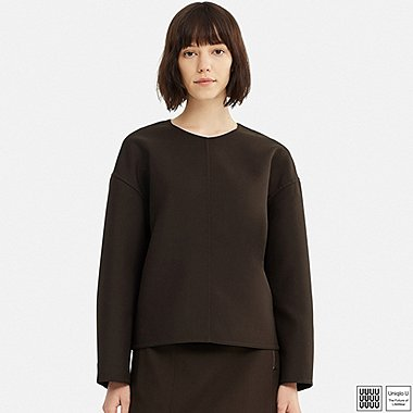 WOMEN U WOOL-BLEND LONG-SLEEVE BLOUSE, DARK BROWN, medium