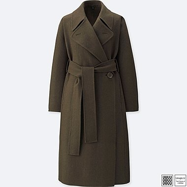 WOMEN UNIQLO U DOUBLE FACE WRAP WOOL COAT