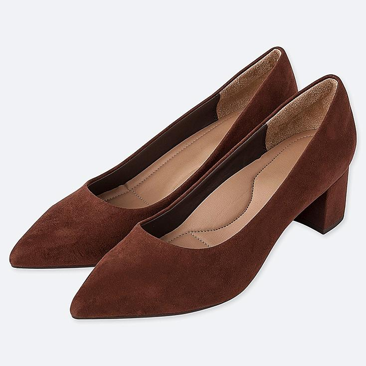 WOMEN CHUNKY HEELED SHOES, DARK BROWN, large