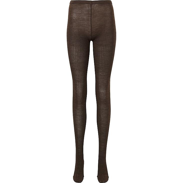 WOMEN HEATTECH KNIT TIGHTS (RIB), DARK BROWN, large