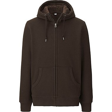 MEN PILE-LINED SWEAT LONG SLEEVE FULL-ZIP HOODIE, DARK BROWN, medium