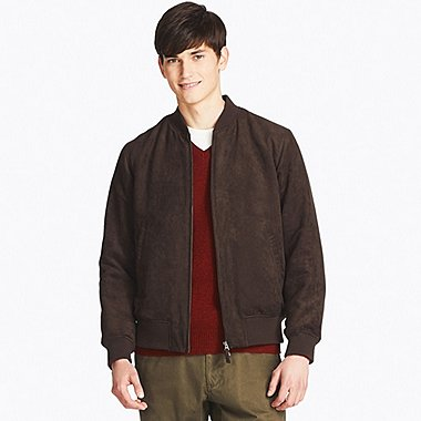 MEN FAUX SUEDE RIBBED BLOUSON, DARK BROWN, medium