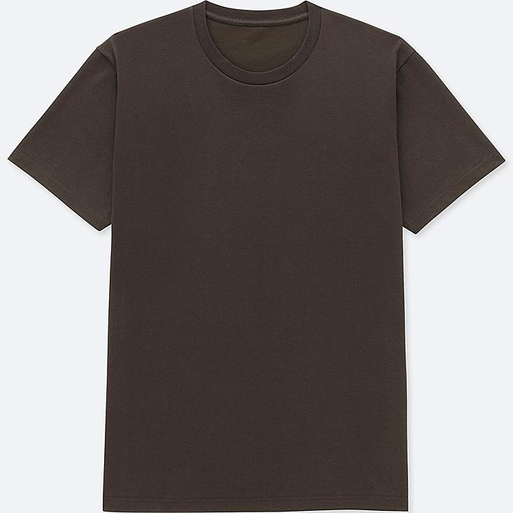 MEN PACKAGED DRY CREW NECK SHORT-SLEEVE T-SHIRT, DARK BROWN, large