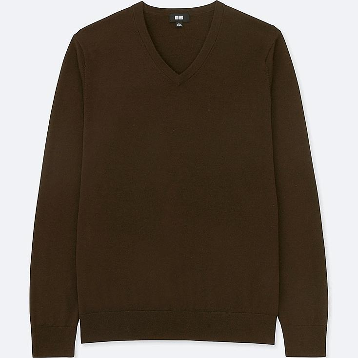 MEN EXTRA FINE MERINO V-NECK LONG-SLEEVE SWEATER, DARK BROWN, large