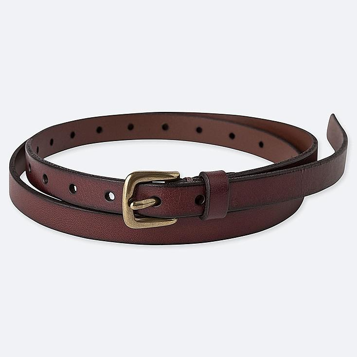 WOMEN VINTAGE SKINNY BELT, DARK BROWN, large
