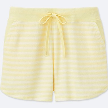 WOMEN AIRism PILE LINED LOUNGE SHORTS (STRIPE), CREAM, medium