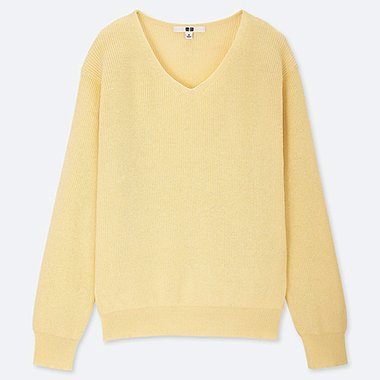 WOMEN COTTON CASHMERE V-NECK SWEATER, CREAM, medium