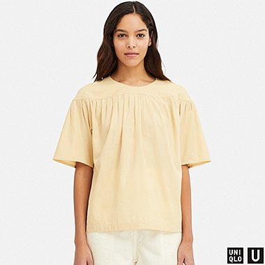 WOMEN U PLEATED SHORT-SLEEVE BLOUSE, CREAM, medium