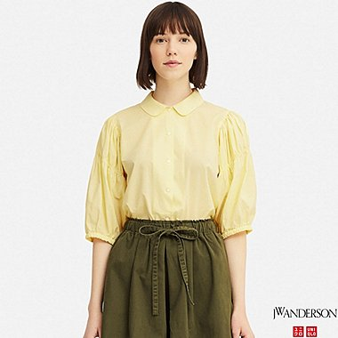 WOMEN 3/4 PUFF SLEEVE BLOUSE (JW Anderson), CREAM, medium
