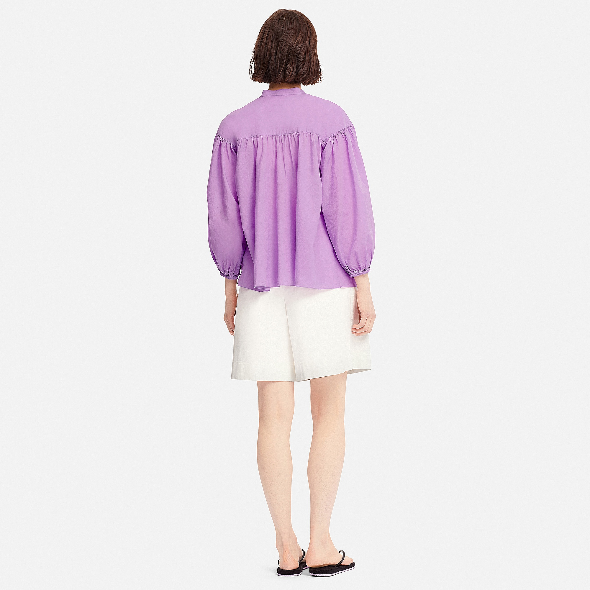0f53ab104bd278 Uniqlo WOMEN Tomas Maier 100% SOFT COTTON GATHERED 3 4 SLEEVE BLOUSE ...