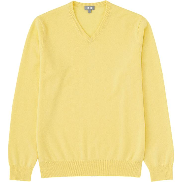 MEN CASHMERE V-NECK SWEATER, YELLOW, large