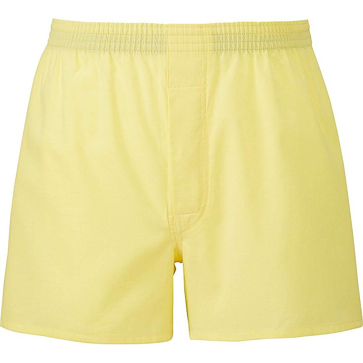 Men Woven Light Oxford Boxers, YELLOW, large