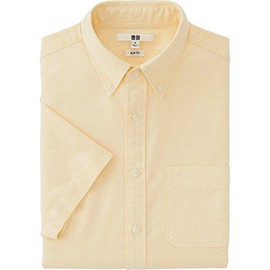 Mens Oxford Slim-Fit Short Sleeve Shirt, YELLOW, medium