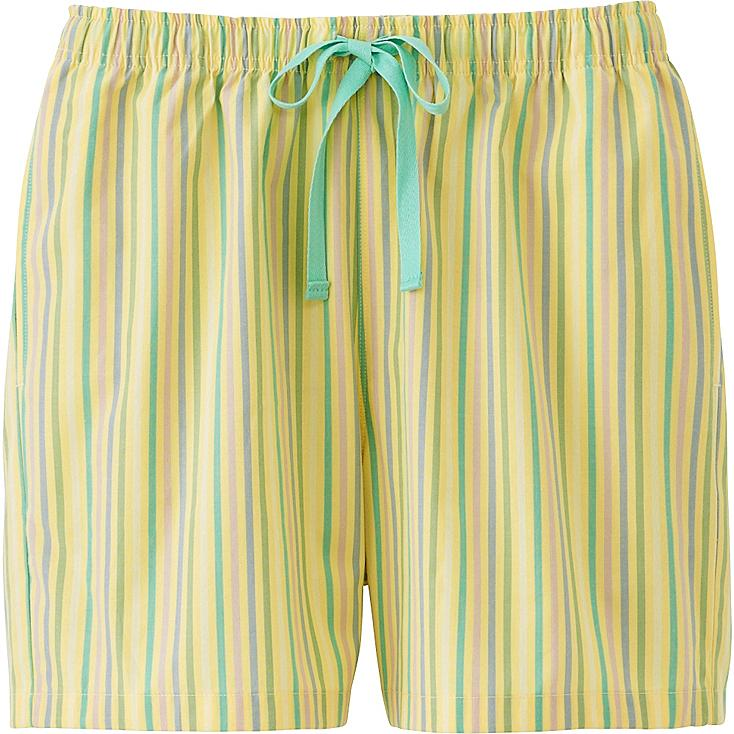 Women Relaco Striped Lounge Shorts, YELLOW, large