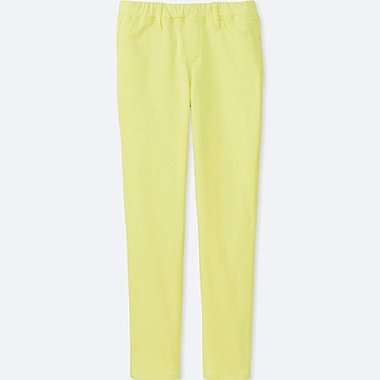 GIRLS EASY LEGGINGS PANTS, YELLOW, medium