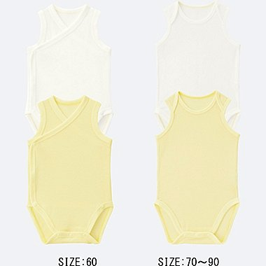 BABY AIRISM MESH SLEEVELESS BODYSUIT 2-PACK, YELLOW, medium