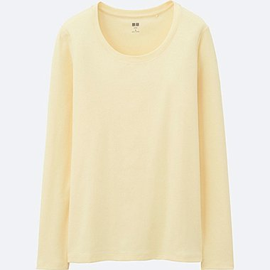 WOMEN Supima® COTTON CREWNECK LONG SLEEVE T-SHIRT, YELLOW, medium