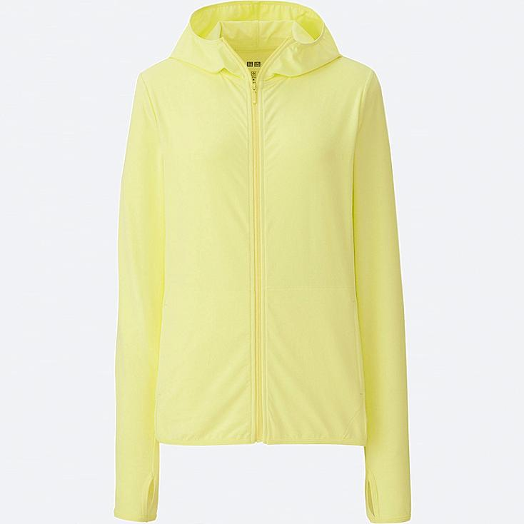 WOMEN AIRism UV CUT MESH FULL-ZIP HOODIE, YELLOW, large