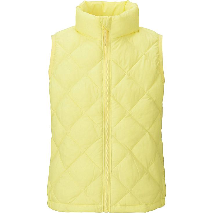 GIRLS LIGHT WARM PADDED VEST, YELLOW, large