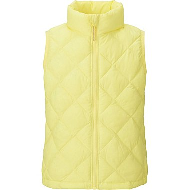 GIRLS LIGHT WARM PADDED VEST, YELLOW, medium