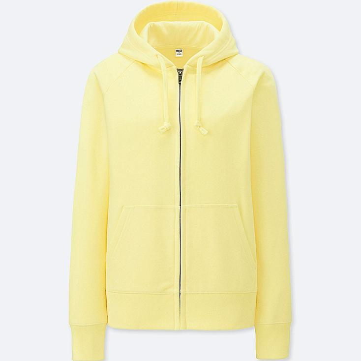 WOMEN SWEAT LONG-SLEEVE FULL-ZIP HOODIE, YELLOW, large