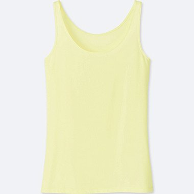 WOMEN AIRism SLEEVELESS TOP, YELLOW, medium