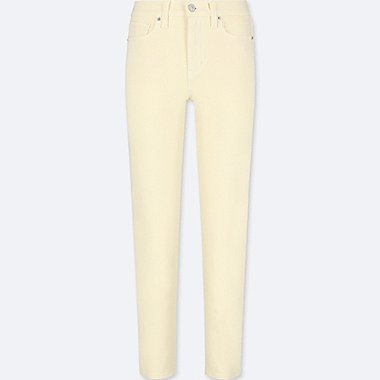 WOMEN HIGH RISE CIGARETTE JEANS, YELLOW, medium
