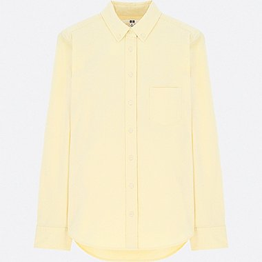 WOMEN OXFORD LONG-SLEEVE SHIRT (ONLINE EXCLUSIVE), YELLOW, medium