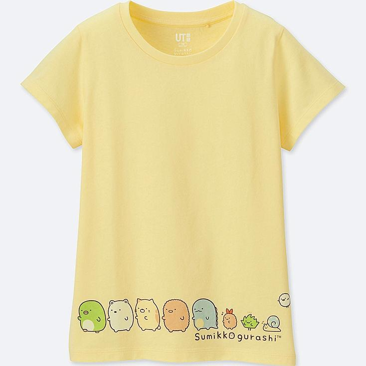 GIRLS SUMIKKO GURASHI SHORT-SLEEVE GRAPHIC T-SHIRT, YELLOW, large