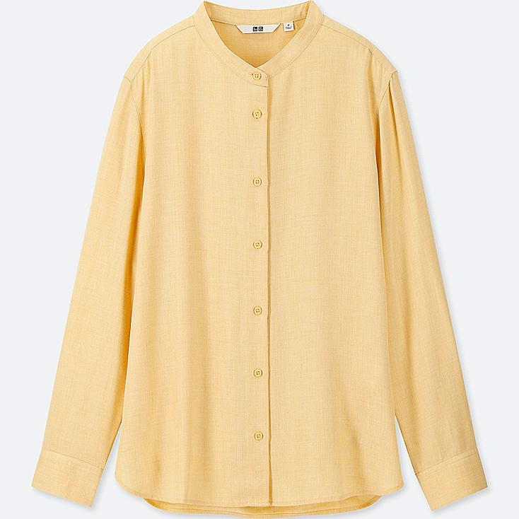 WOMEN RAYON LONG-SLEEVE BLOUSE (ONLINE EXCLUSIVE), YELLOW, large