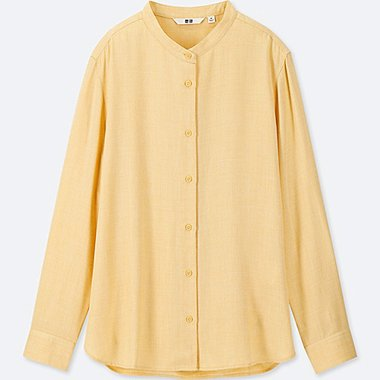 WOMEN RAYON LONG-SLEEVE BLOUSE (ONLINE EXCLUSIVE), YELLOW, medium