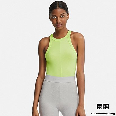 WOMEN HEATTECH RIBBED SLEEVELESS TOP (ALEXANDER WANG), NEON GREEN, medium