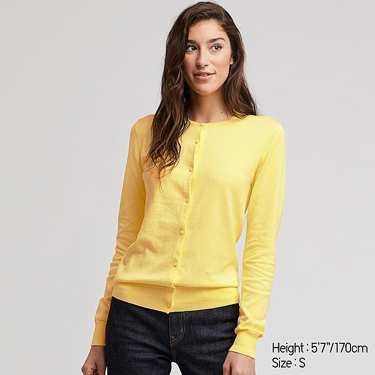 WOMEN UV CUT SUPIMA® COTTON CREW NECK CARDIGAN, YELLOW, large