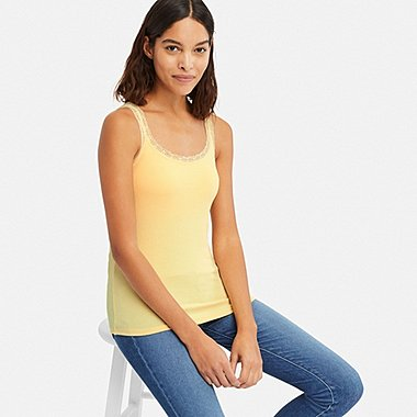 WOMEN RIBBED LACE BRA SLEEVELESS TOP, YELLOW, medium