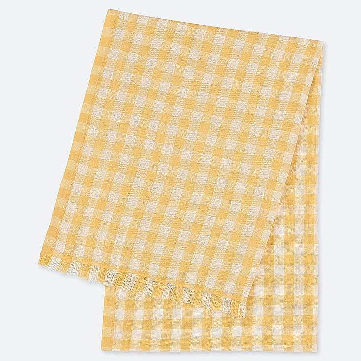 COTTON LINEN BLOCK CHECK STOLE, YELLOW, large