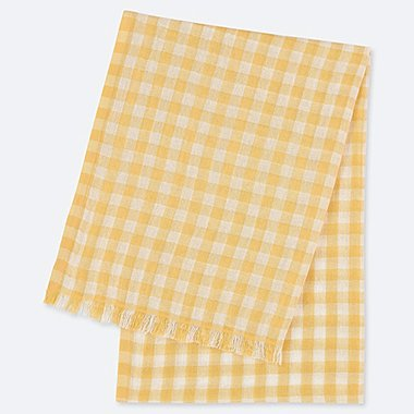 COTTON LINEN BLOCK CHECK STOLE, YELLOW, medium