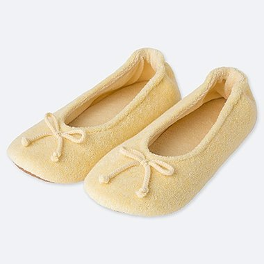 WOMEN PILE BALLET SLIPPERS, YELLOW, medium