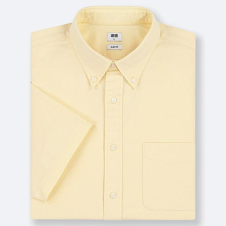 MEN OXFORD SLIM-FIT SHORT-SLEEVE SHIRT, YELLOW, large