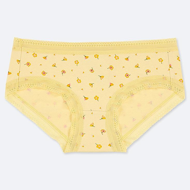 WOMEN FLORAL HIPHUGGER, YELLOW, large