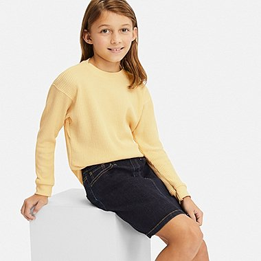 KIDS WAFFLE CREWNECK LONG-SLEEVE T-SHIRT, YELLOW, medium