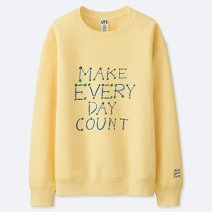 WOMEN AND HAVE FUN ! BY GRACE LEE SWEATSHIRT, YELLOW, large
