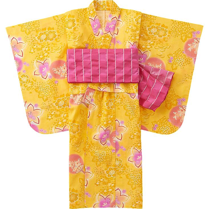 GIRLS YUKATA, YELLOW, large