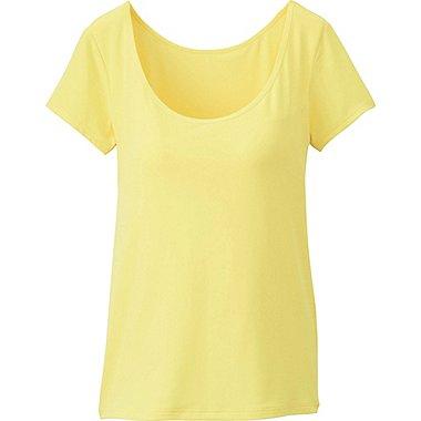 AIRism Scoop Neck Bra T-Shirt, YELLOW, medium