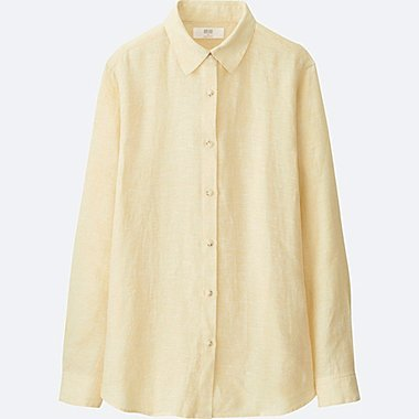 WOMEN PREMIUM LINEN LONG-SLEEVE SHIRT, YELLOW, medium