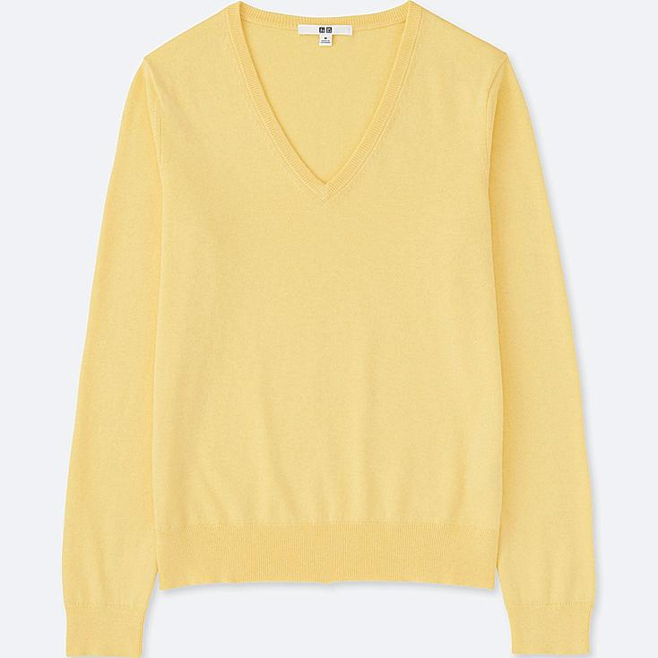 WOMEN COTTON CASHMERE V-NECK SWEATER, YELLOW, large